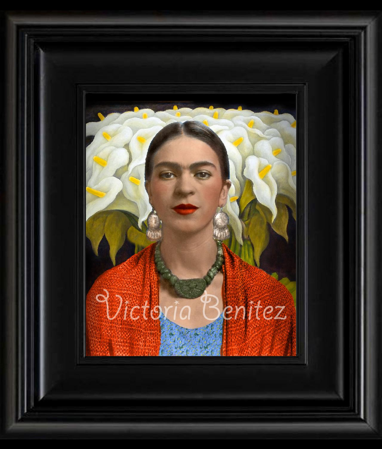 FRIDA KAHLO orange rebozo and callas digital oil painting design 8' X 10' photo print