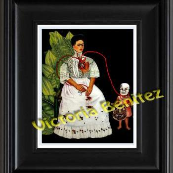 FRIDA KAHLO day of the dead TWO FRIDAS digital oil painting design 8