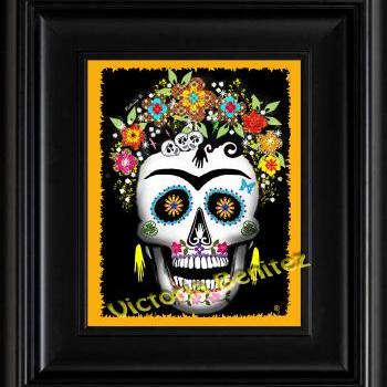 FRIDA KAHLO day of the dead YELLOW SUGAR SKULL digital oil painting design 8