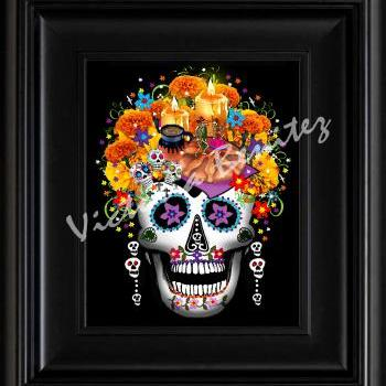 FRIDA KAHLO day of the dead OFRENDAS SUGAR SKULL digital oil painting design 8