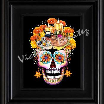 FRIDA KAHLO day of the dead THE OFFERING SUGAR SKULL digital oil painting design 8