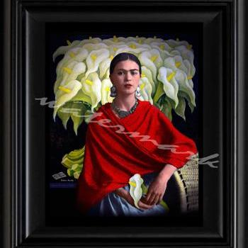 FRIDA KAHLO day of the dead ELREBOZO RED digital oil painting design 8